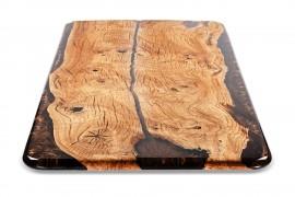 Esstisch Platte mit Epoxidharz Kastanienholz inkl. Metallbeine