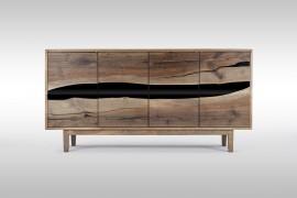 Massivholz Sideboard aus Walnussholz mit Epoxidharz