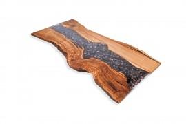 Tischplatte Kastanien-Epoxidharz-IV inkl. Stahl Beine