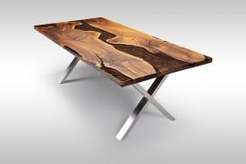 Massivholztisch mit Epoxidharz aus Walnussholz UN077