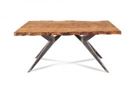 Tisch Samara Karelische Birke Tischgestell aus Stahl,