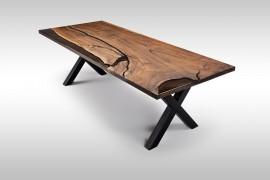 Esstisch Massivholz mit Epoxidharz aus Wallnusholz UN071