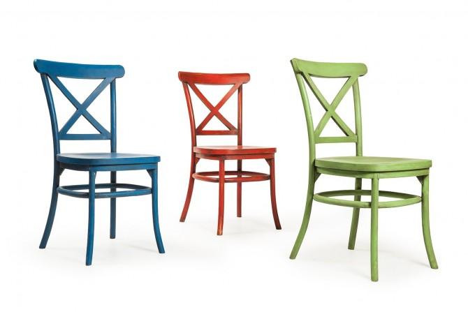 Teakholz Stühle blau rot grün