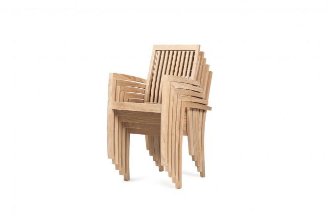 Teakholz Stapelbar Stuhl