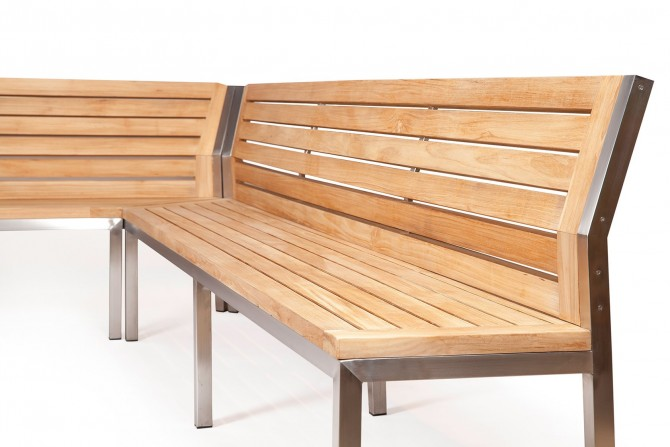 Eckbank Idea aus Teahholz und Edelstahl Gartenbank